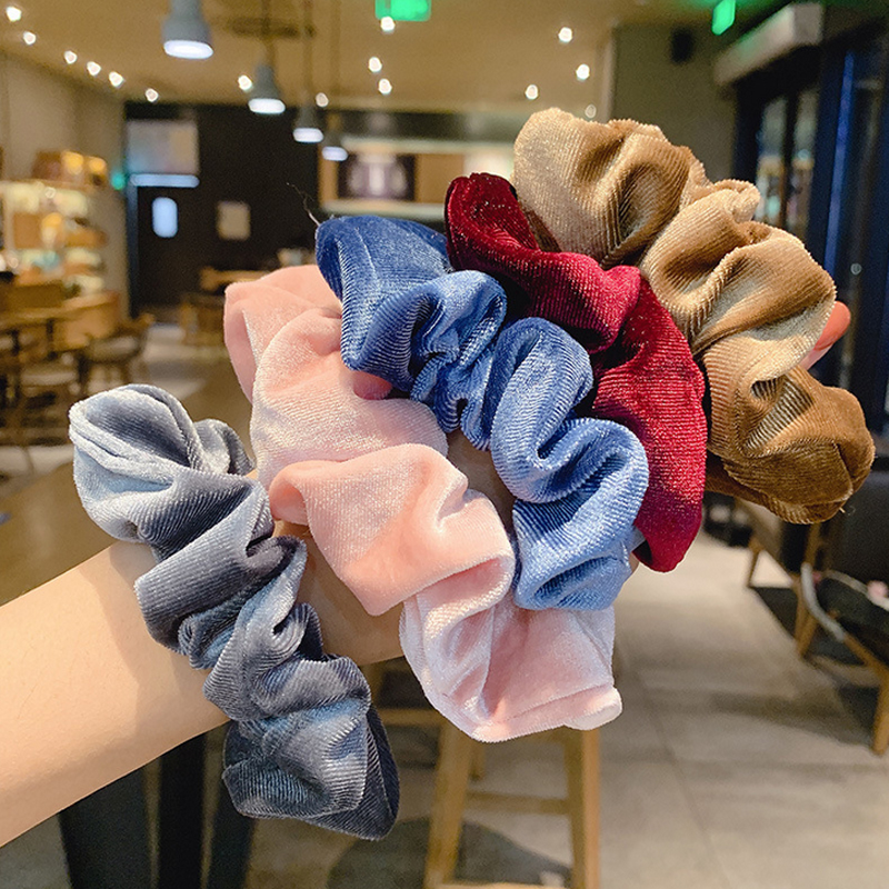 1PC Solid Elastic Hair Bands Women Elegant Hair Scrunchies Girls Headwear Hair Rope Ponytail Holder Hair Accessories