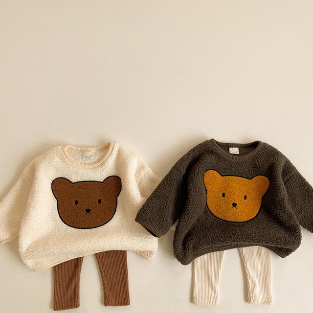 Zimowe dziewczynek chłopców uroczy niedźwiadek animowany zagęścić ciepłe bluzy topy dzieci dzieci z długim rękawem bluzy odzież wierzchnia tanie i dobre opinie BOBOTCNUNU moda CN (pochodzenie) 7-12m 13-24m 25-36m COTTON Unisex W stylu rysunkowym baby Z okrągłym kołnierzykiem Bluzy z kapturem