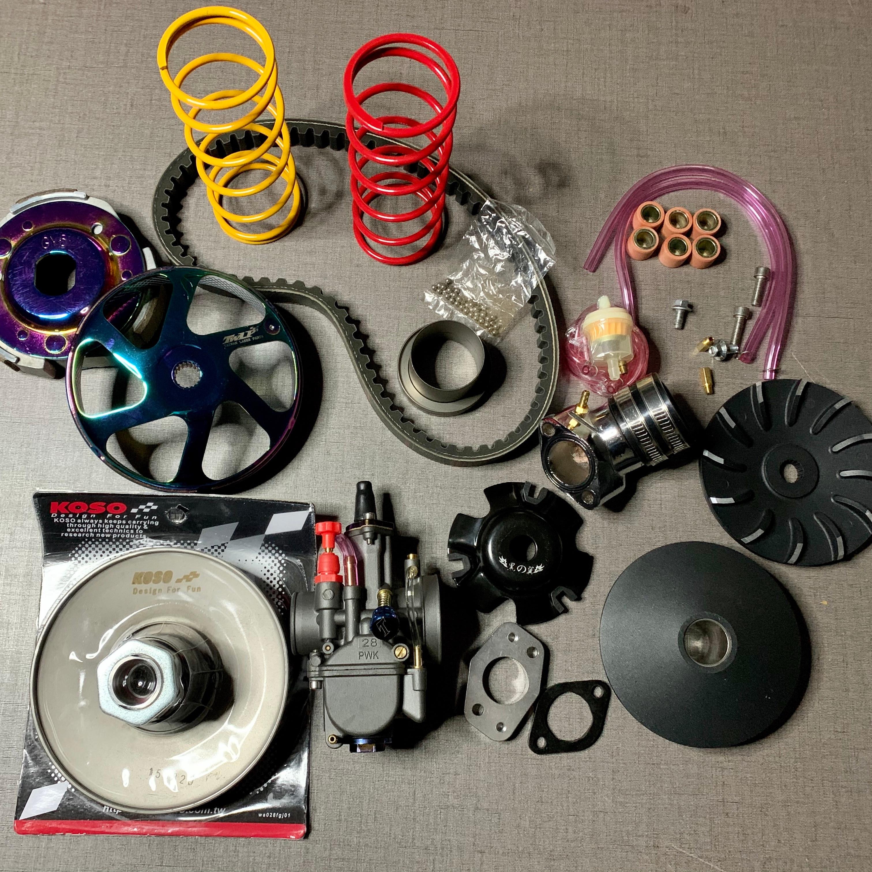 GY6 Racing Clutch Transmission Kit 157QMB 157QMJ 152QMI LF150T LIBERTY CVT Set Tuning Variator Pulley Belt Carburetor GO KART