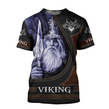2020 Summer Fashion Viking Odin Mens t-shirt Raven Tattoo 3D Printed Harajuku Short Sleeve T shirts Unisex Casual Tops KJ-73 1