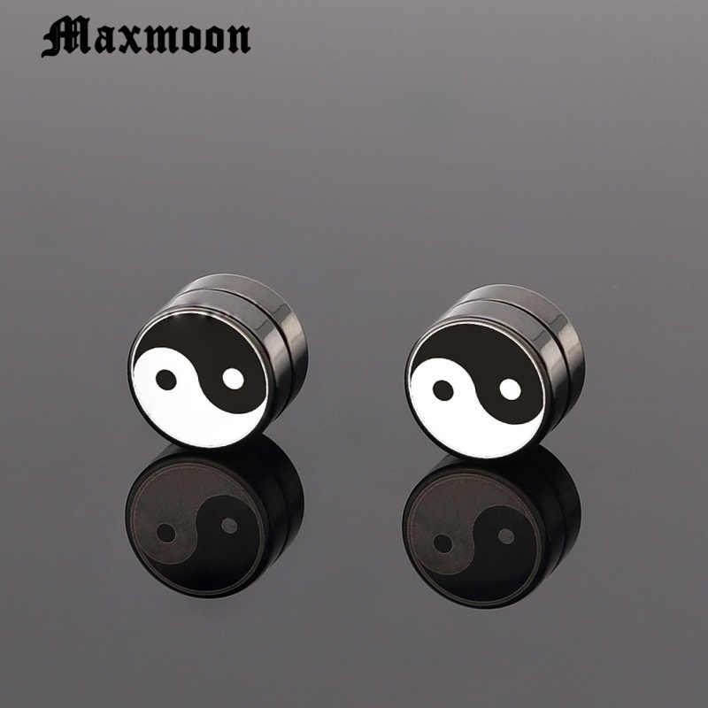 Maxmoon Taichi 1 Par Homem Mulheres Brincos Não Piercing Magnético Simples Brinco Rodada