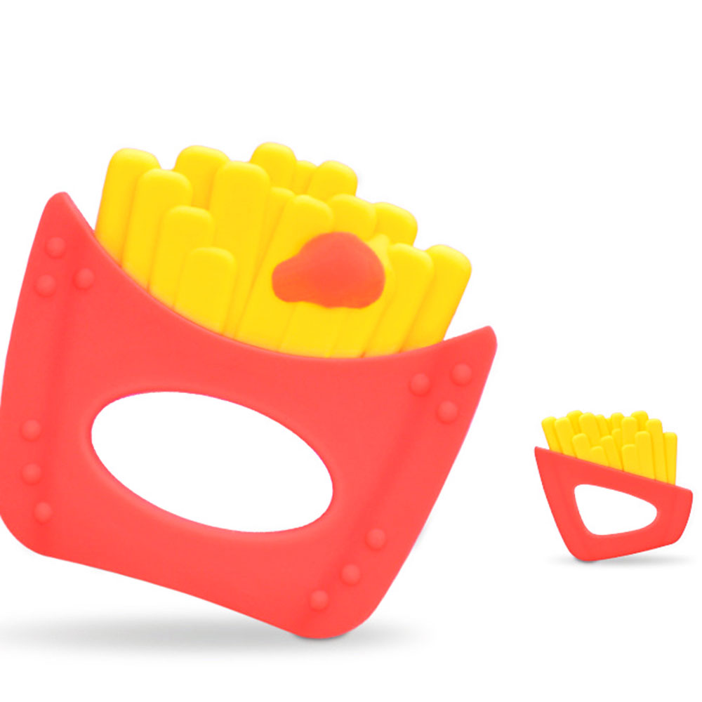 1Pcs Funny Potato Chips Baby Teether Food Grade French Fries BPA Free Silicone Teething Beads Baby Rattles Nursing Tools