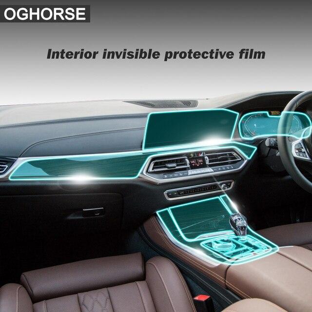 Para bmw x5 g05 rhd protetor de tela interior do carro da mão direita controle central navegação engrenagem exibição tpu película protetora adesivo