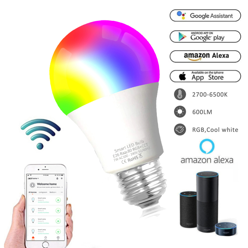 WiFi Smart Light Bulb Home Lighting Lamp Dimmable Multicolor Wake-Up Lights No Hub Required With Alexa And Google APP Control