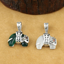 925 Sterling Silver Jewelry Retro Thai Silver Men And Women Couple Models Elephant Marcasite Inlaid Green Agate Elephant Pendant 925 pure silver silver manufacturers china wind auspicious elephant pendant and intime stereo sweater chain pendant