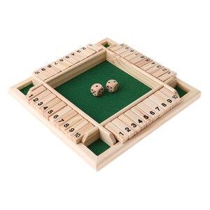Juego de mesa con dados para niños y adultos, madera Deluxe, 4 caras, 10 números, cerrado