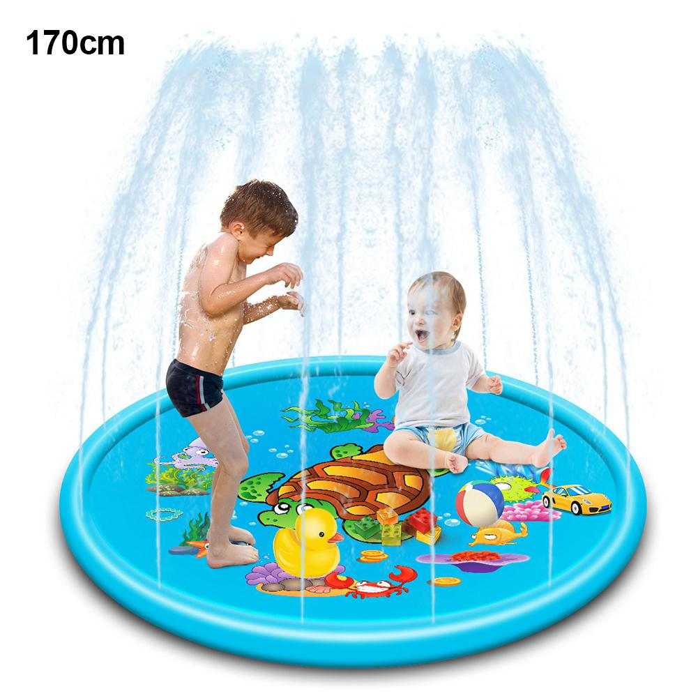 110/170cm Cute Turtle Inflatable Spray Water Outdoor Garden Kids Interactive Play Mat Sprinkler Pad