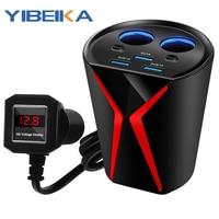 Carregador de carro yibeika dupla usb 3.1 um carregador de carro tipo copo um arrastar três cigarro isqueiro plug carregador do telefone móvel carregamento rápido