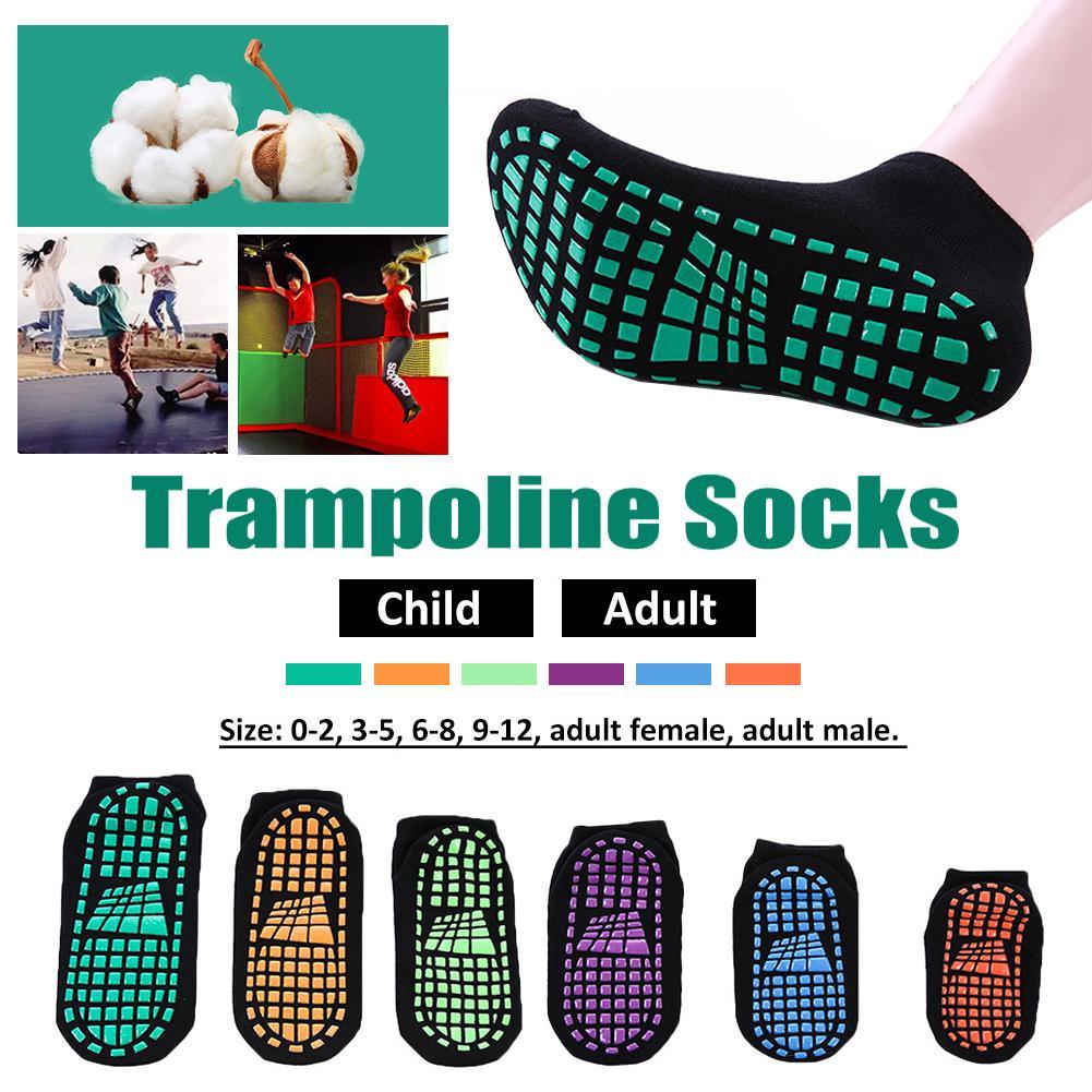 Trampoline Socks Adult & Child Indoor Sports Socks Pvc Rubber Points Anti-slip Floor Socks Women Cotton Yoga Socks Foot Massage