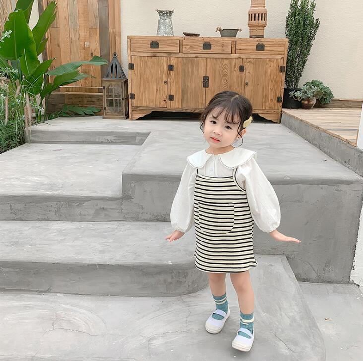 2019 Korean Style Girls Striped Dress Fashion Autumn Sleeveless Girls Dresses 1-6 Years