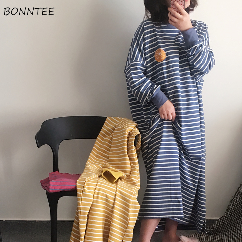 Sleepshirts Women Long Sleeve Striped Comfortable Casual Lovely Sweet Ulzzang Daily Mid-calf Womens Students Korean Style Modern
