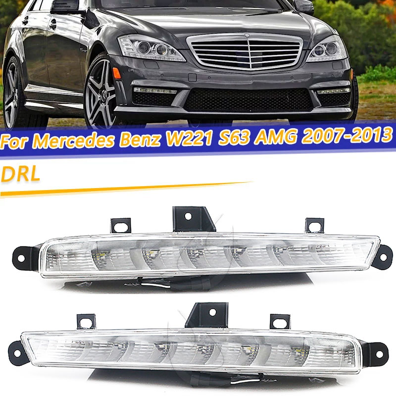 COOYIDOM DRL Daytime Running <font><b>Lights</b></font> For Mercedes <font><b>Benz</b></font> <font><b>W221</b></font> S63 AMG 2007-2013 LED Fog Lamps <font><b>Lights</b></font> 2218201356 221 820 14 56 image