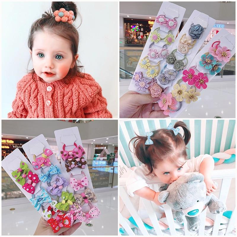 10/20Pcs/Set 2020 Kakakids  New Girls Hair  Accessories Cloth flower handmade bow baby's leather tendon hair ornament  hair band