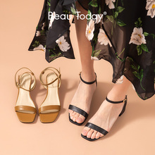 BeauToday Gladiator Sandals Women Genuine Cow Leather Ankle