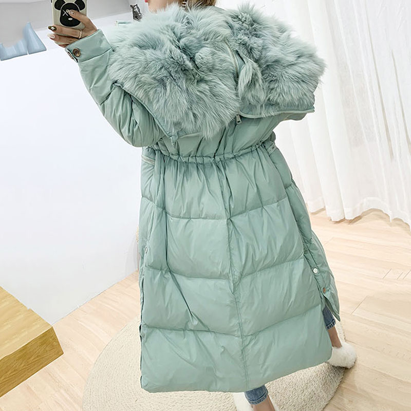 Long Woman   Down     Coat   White Duck   Down   Casual Women Jackets Solid Wide-waisted Thick Femme Winter Wearing   Coats   For Women YRF39