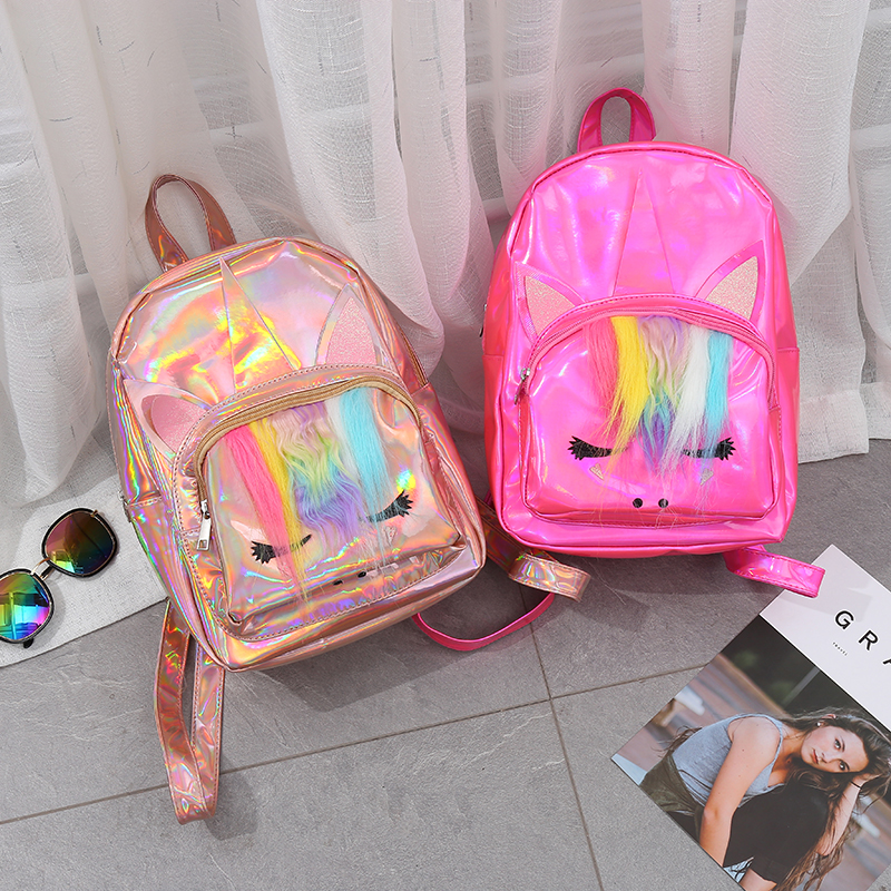 NEW Unicorn Variable Color Sequins Unicorn Backpack Fashion PU Cute Leather Travel Bag Hologram Lovely Large Capacity Casual Bag