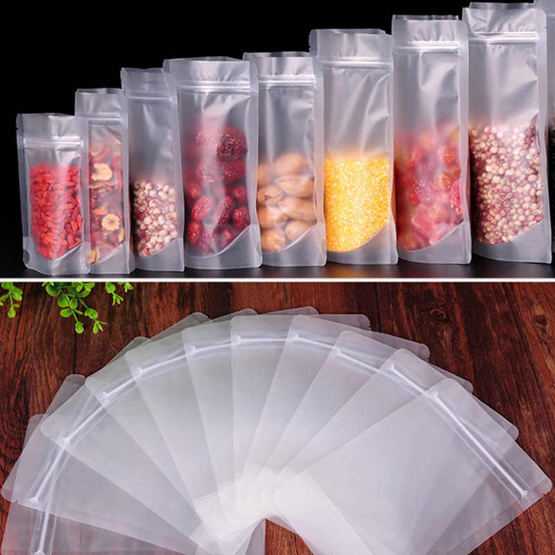 100 Pcs Frosted Zipper Resealable Stand Up Bags Snack Food Tea Packing Pouches Resealable Zip Lock Bag P7Ding