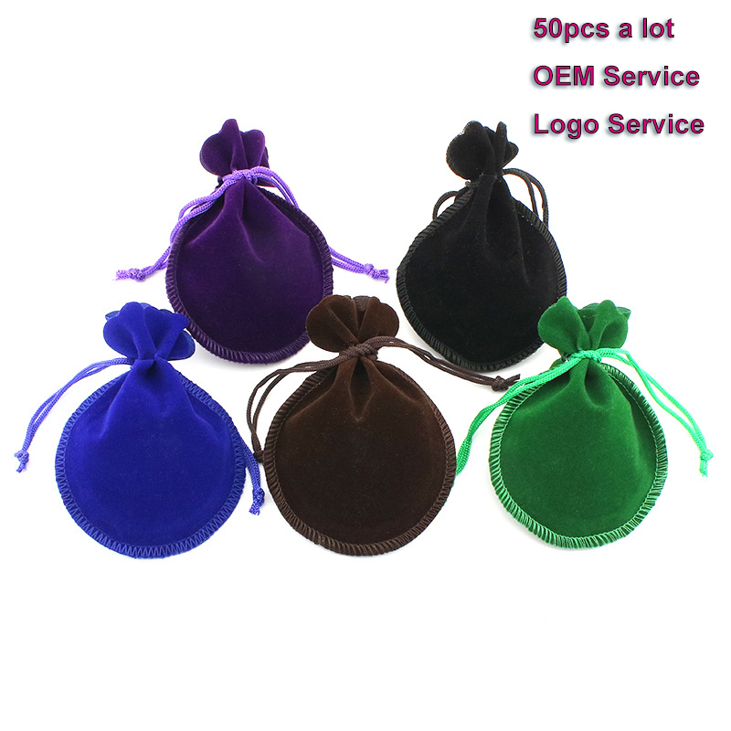 Drawstring Gift Bag 50pcs/Lot 7x9 9x12 Used For Wedding Candy Cake Bag Advertising Bag  Jewelry Pouch Velvet Packing Bag