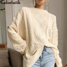 Colorfaith New 2020 Autumn Winter Women Pullovers Sweater Oversize Knitted LanternSleeve  Solid Minimalist Knitwear SW7418