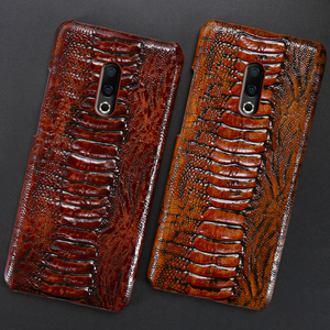 Image 2 - Genuine Leather Phone Case For Meizu 16th Plus 16 16X 17 Pro 7 Plus Cases Luruxy  Cowhide Ostrich Foot Texture Back Cover