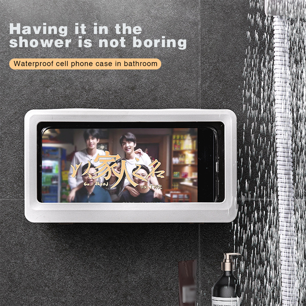 Punch-Free Bathroom Wall Mounted Waterproof Mobile Phone Holder Storage Box For Lazy People Handsfree Gadget Bathroom Amusement