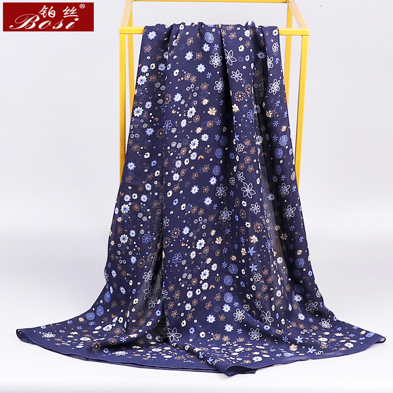 BOSI Chiffon Scarf  Woman Satin Long Scarf Flower Winter Small  Print Chiffon Beach Luxury Brand Ladies Head Stoles Spring Hijab