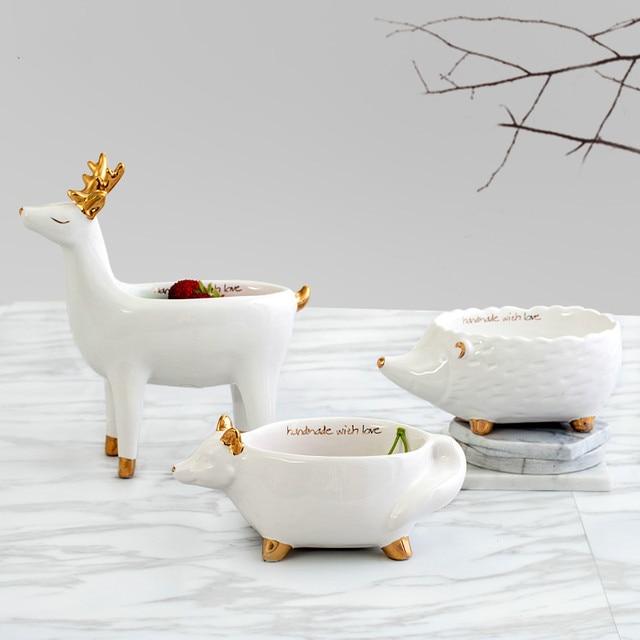 Assiettes à fruits en céramique | Vaisselle en céramique, plateau de rangement de lapin blanc, dessin animé renard bol Snack Dessert assiette en céramique décoration plateau à bijoux