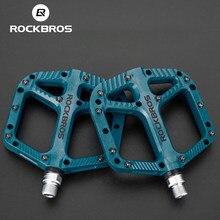 Велосипедные педали ROCKBROS, нейлоновая Ультралегкая педаль на плоской платформе, подшипники для дорожных и горных велосипедов, запчасти, акс...