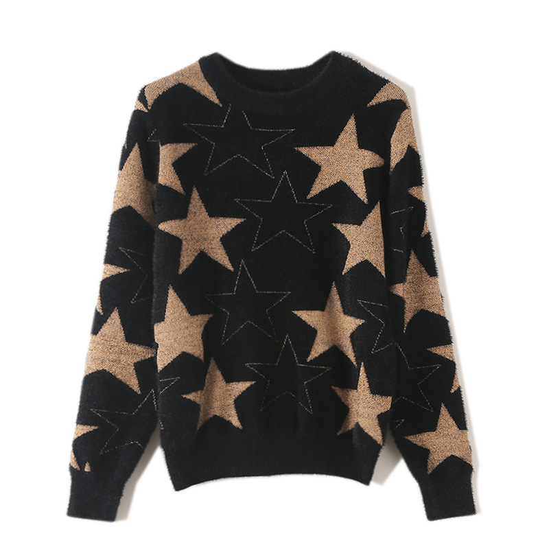 Velvet Sweater Star Long Sleeve Casual Outerwear Female Kniited Tops Faux Mink Fur Pull Femme Clothes Sueter Mujer TA18048