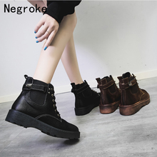 New Patent Leather Ankle Boots For Women Lace Up Platform Boots Women Winter Warm Plush Women Boots Street Style Shoes tie up patent leather eyelets ankle boots