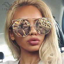 TTLIFE – lunettes De soleil rondes surdimensionnées pour femmes, monture métallique Vintage, verres colorés, protection uv 400