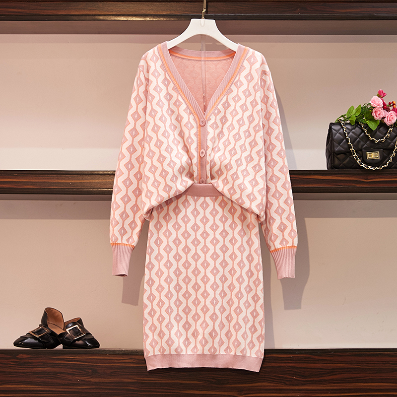 Autumn Knitted Sweater Pink 2 Piece Set Women's outfits V-Neck Jacquard Cardigan Coats + Skirt Two Piece Set Plus Size Knit Suit
