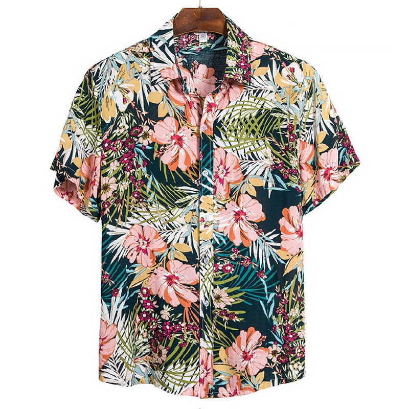 2020 Casual Printed Short Sleeve Shirt Men Street Summer Hawaii Beach Women Short Sleeve Shirts Harujuku Mens
