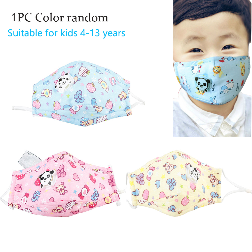 3pc Kids Mask Cotton Anti Dust Mouth Mask Pm2.5 Face Masks Activated Carbon Filter Windproof Mask