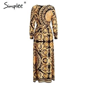 Image 3 - Simplee Vintage Bloemenprint Lange Vrouwen Jurk Zomer Sexy Lange Mouw Paleis Maxi Jurk Paisley 2019 Boho Robe Party Club jurk