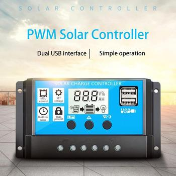 60A/50A/40A/30A/20A/10A 12V 24V Auto Solar Charge Controller PWM Controllers LCD Dual USB 5V Output Solar Panel PV Regulator solar kit solar panel 12v 40w solar charge controller 12v 24v 10a lcd pwm dual usb solar battery charger rv motorhome caravan
