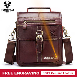 Image 1 - famous brand Genuine Leather Shoulder Bag Men Messenger Bags Handbag Busines Bolsas Travel Sling Crossbody for Male ipad Tote