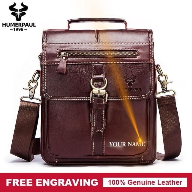 famous brand Genuine Leather Shoulder Bag Men Messenger Bags Handbag Busines Bolsas Travel Sling Crossbody for Male ipad Tote