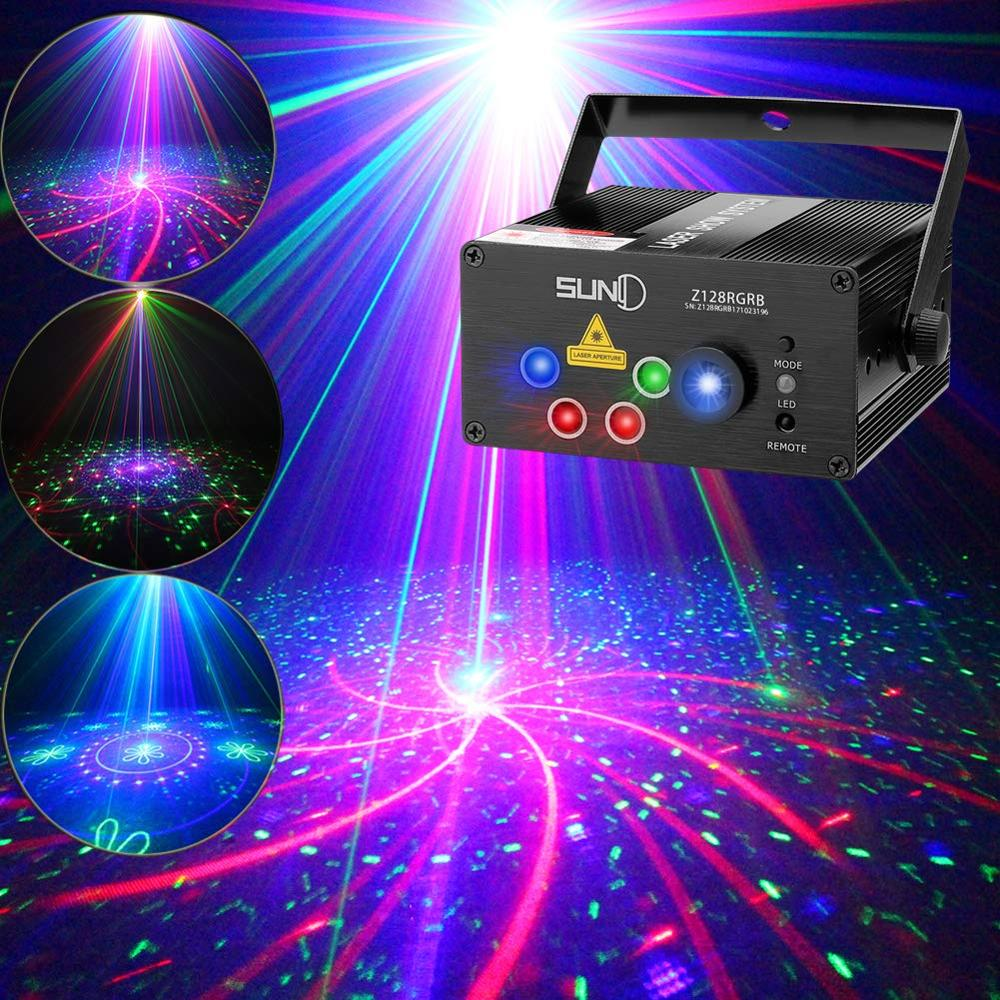 SUNY 128 RGB Pattern Laser Projector Sound Activated Stage Light Party Laser Light DJ Music Xmas Disco Light Show Dance Club Bar