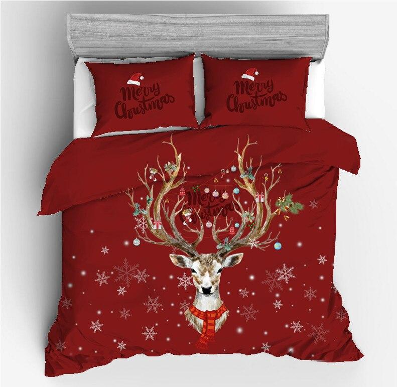 Рождественские наборы постельных принадлежностей; принт с оленем; Постельное белье 2/3 шт. двойной queen King постельное белье постельно