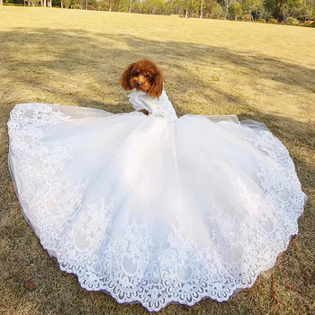 Pet Dog Dress Luxury Trailing Princess Wedding Dress Offer Veil Puppy Clothes Handmade Embroidery For Small Dogs Chihuahua Dress