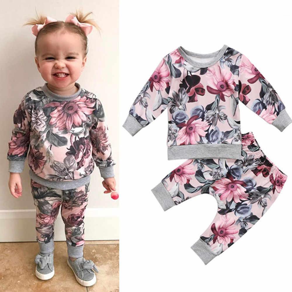 Recién Nacido niño vestido de bebé niñas niños ropa abrigo camiseta Tops + Floral pantalones mallas conjuntos de ropa de bebe terno 6 M-24 M