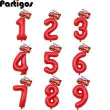 2 sztuk 32 cal czerwona liczba balony Mini samolot wóz strażacki z balonów foliowych 1 2 3 4 5 6 7 8 9 lat dekoracje na imprezę urodzinową dla dzieci zabawki dla dzieci
