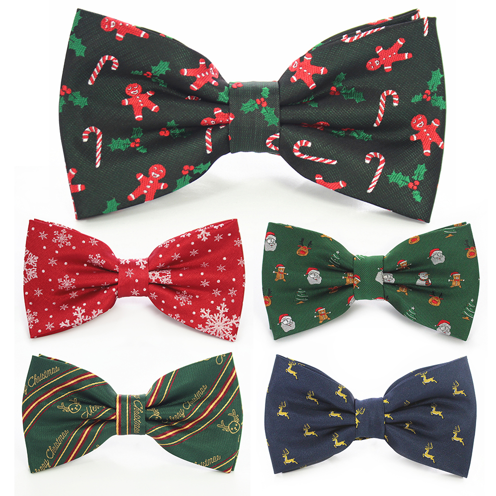 JEMYGINS Christmas Bow Ties For Mens Shirt  Snowflake Christmas Tree Pattern Men Silk Bow Tie  Christmas Party Gift