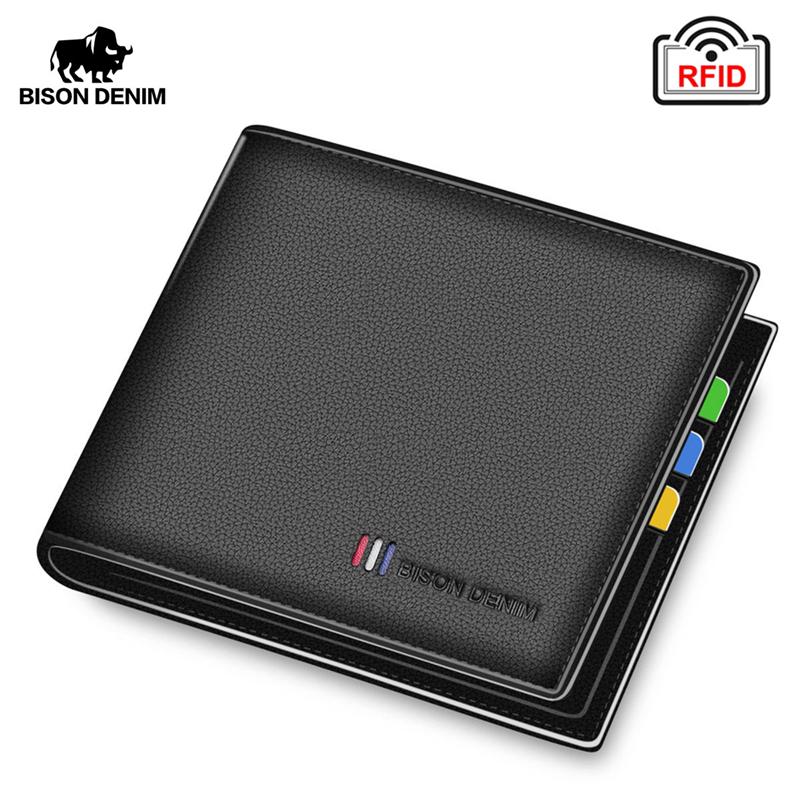 BISON DENIM 100% Cow Leather Small Wallet Men Bifold Credit Card Holder Wallet RFID Blocking Purse For Men Portemonnee Male N447