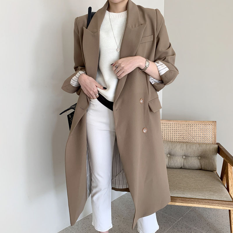 Office Lady Double Breasted Women Long Blazer Notched Collar Spring Jackets Autumn Female Outerwear Elegant Coat