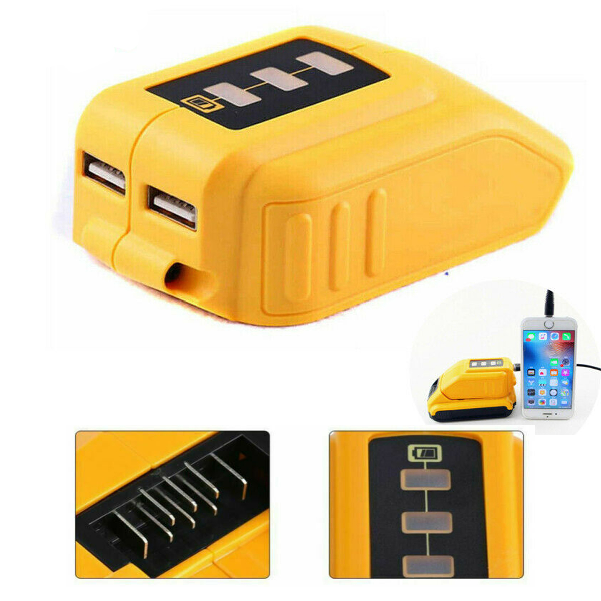 Dual USB Port Battery Adapter Charger With Indicator Built-In Smart Chip Li-ion Battery Charger For Dewalt 12V-18V <font><b>DCB090</b></font> image