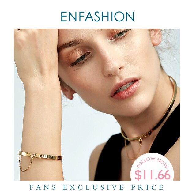 Enfashion בטיחות שרשרת קאף צמיד Noeud armband זהב צבע פלדת צמיד צמיד לנשים צמידי צמידי Pulseiras B8758