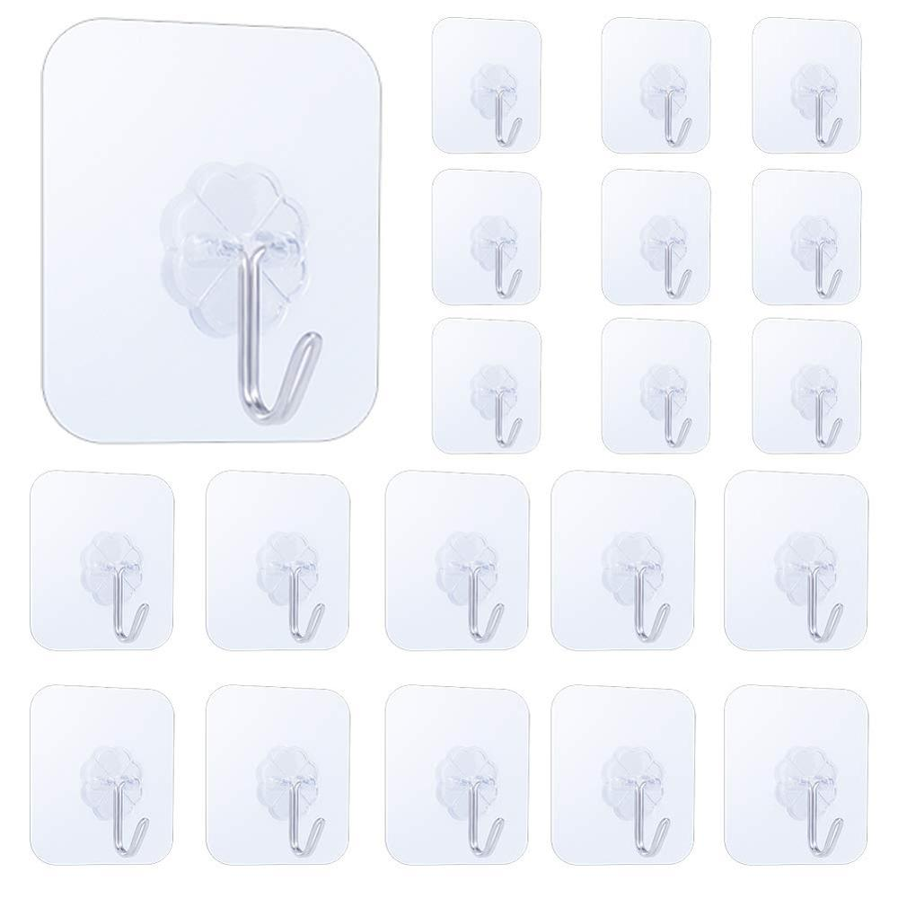 20 Pcs Self Adhesive Wall Hooks, 15lbs Damage Free Hanging Sticky Hook For Tile Wall, Flower-Shaped Clear Hook Clothes Holder