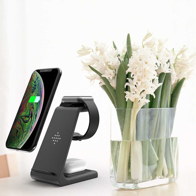 צ 'י 10W תשלום מהיר 3 ב 1 אלחוטי מטען עבור iPhone עבור סמסונג ניצני עבור אפל שעון 4 3 2 עבור Airpods פרו מטען Stand Dock